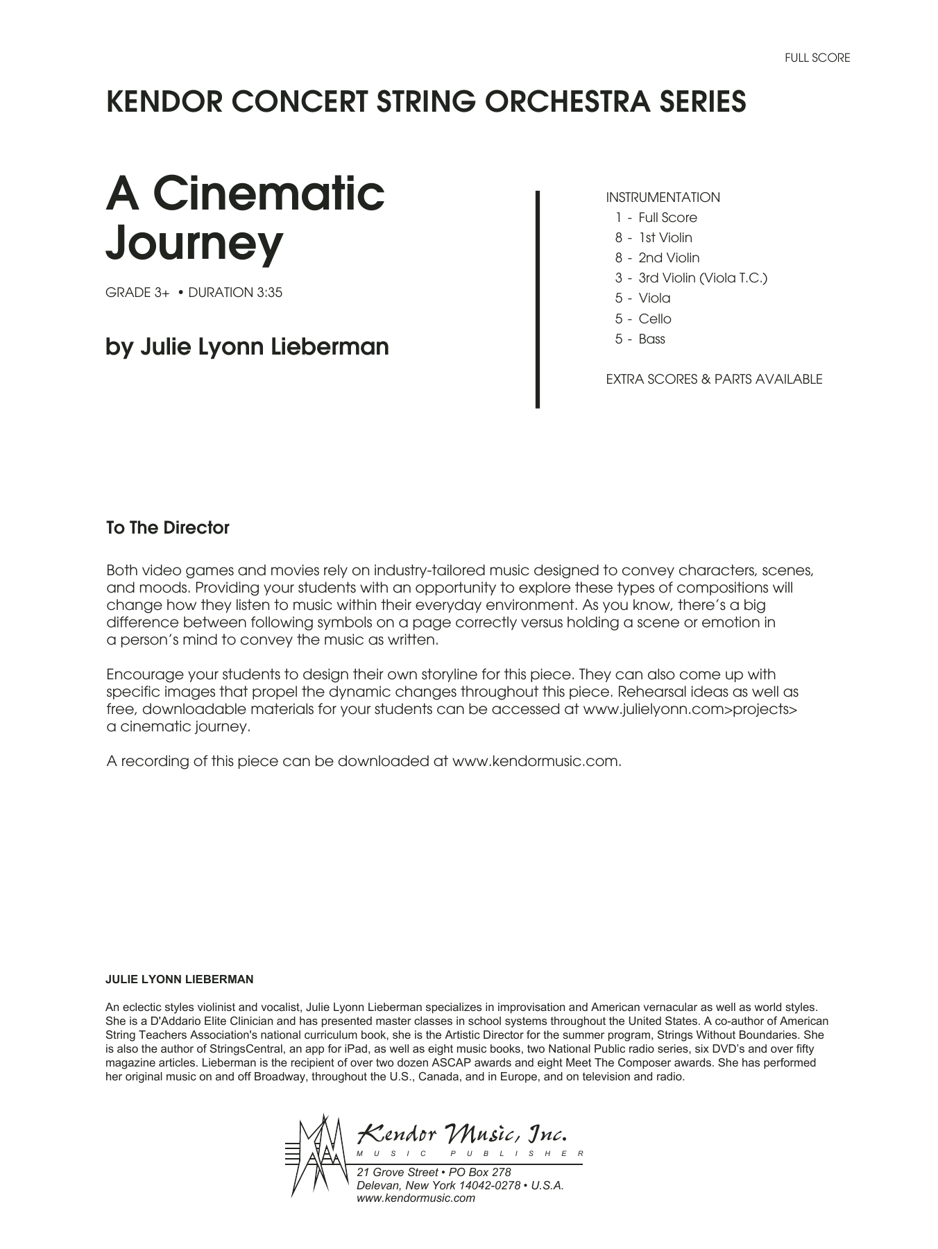 Julie Lyonn Lieberman A Cinematic Journey - Full Score sheet music notes and chords. Download Printable PDF.