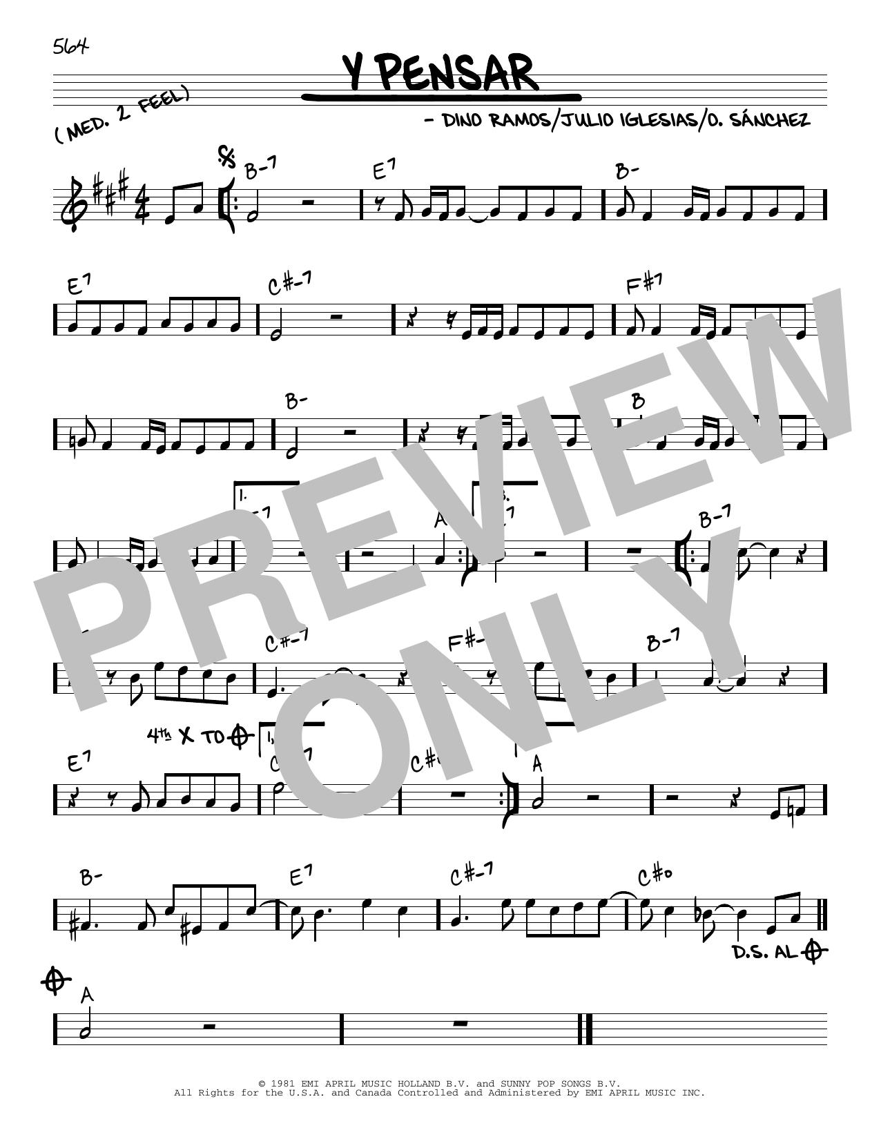 Julio Iglesias Y Pensar sheet music notes and chords. Download Printable PDF.