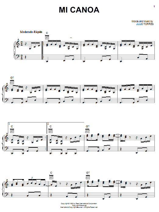 Julio Torres Mi Canoa sheet music notes and chords. Download Printable PDF.