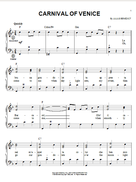 Julius Benedict Carnival Of Venice sheet music notes and chords. Download Printable PDF.