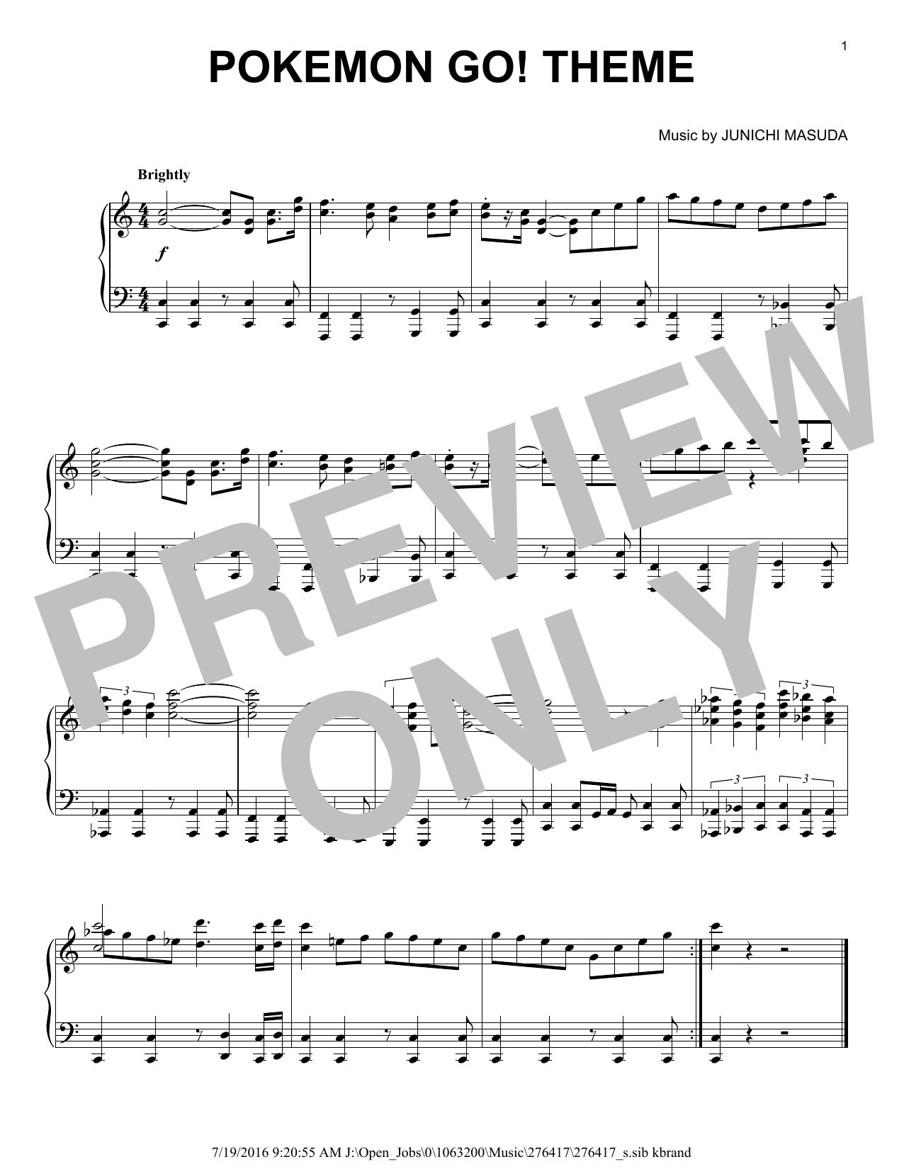 Junichi Masuda Pokemon Go! Theme sheet music notes and chords
