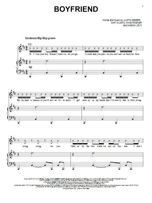 Justin Bieber Boyfriend sheet music notes and chords. Download Printable PDF.