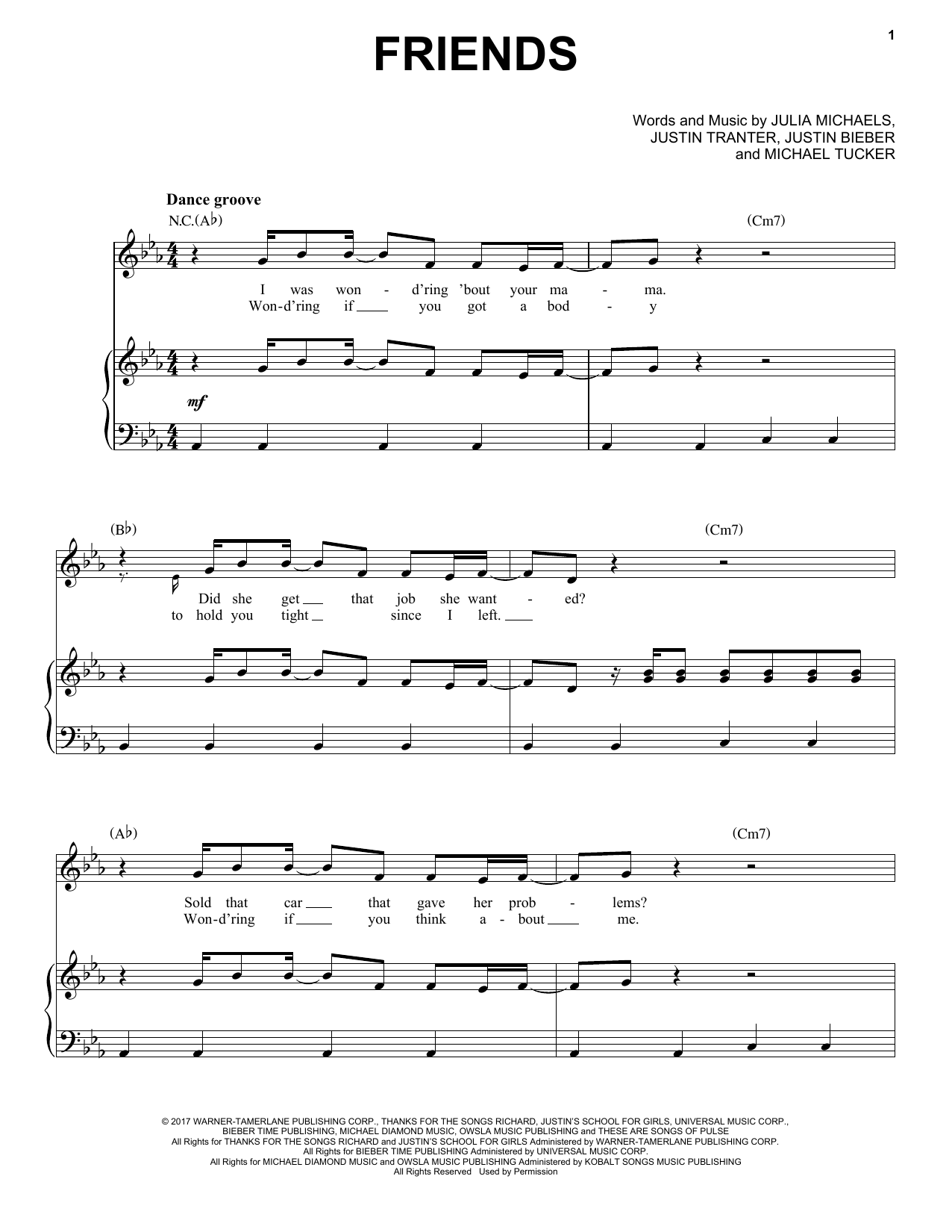Justin Bieber Friends (feat. BloodPop) sheet music notes and chords. Download Printable PDF.