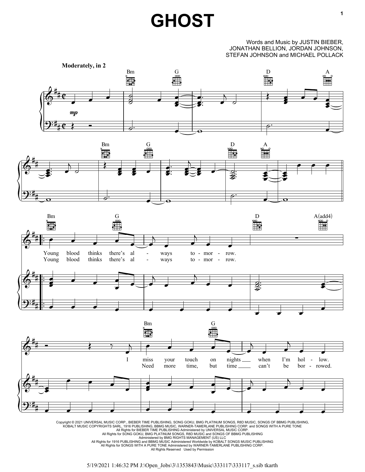 Justin Bieber Ghost sheet music notes and chords. Download Printable PDF.