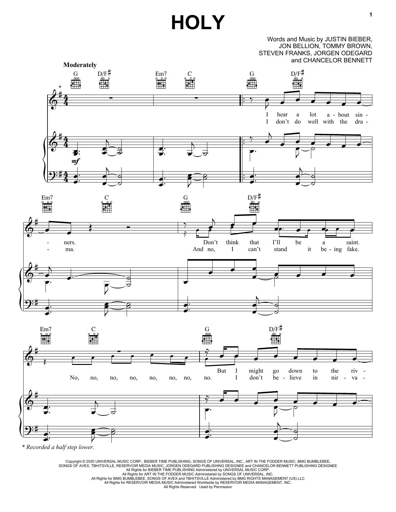 Justin Bieber Holy (feat. Chance the Rapper) sheet music notes and chords. Download Printable PDF.