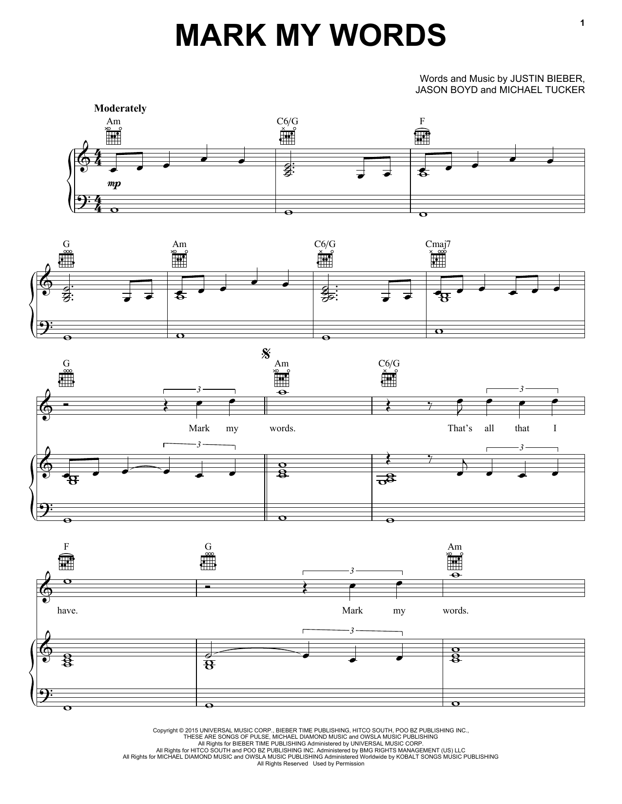 Justin Bieber Mark My Words sheet music notes and chords. Download Printable PDF.