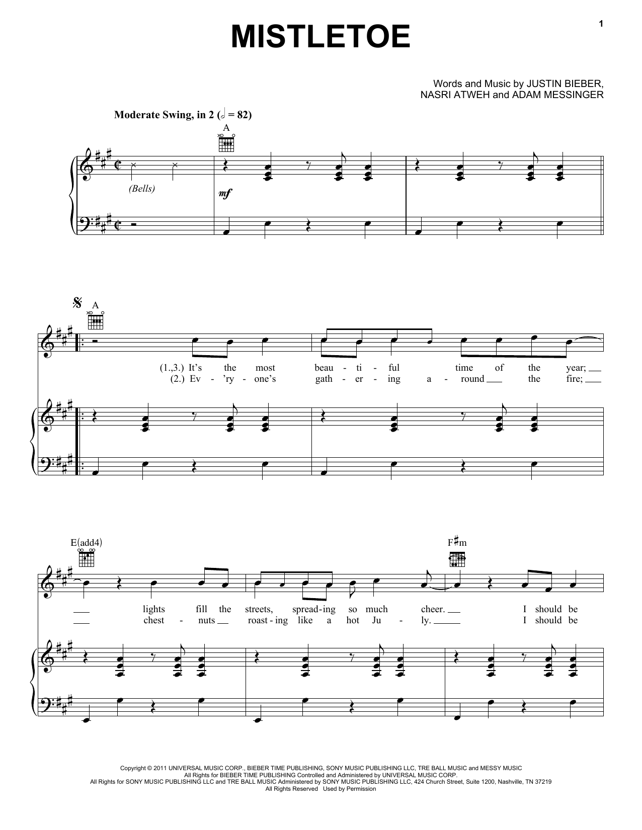 Justin Bieber Mistletoe sheet music notes and chords. Download Printable PDF.