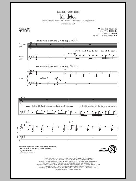 Justin Bieber Mistletoe (arr. Mac Huff) sheet music notes and chords. Download Printable PDF.