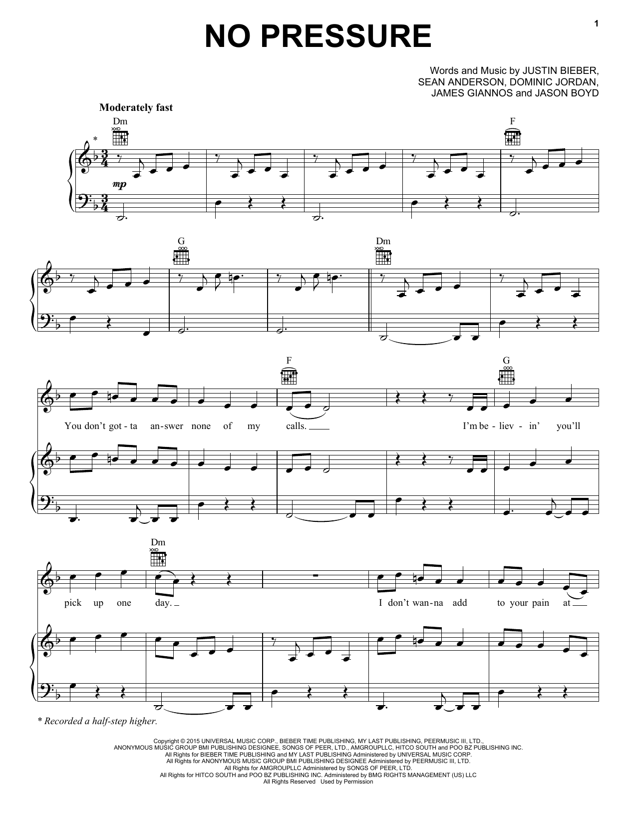 Justin Bieber No Pressure sheet music notes and chords. Download Printable PDF.
