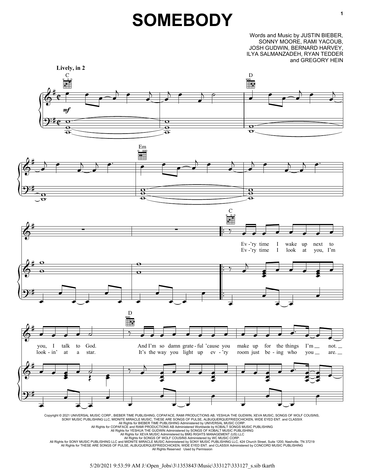 Justin Bieber Somebody sheet music notes and chords. Download Printable PDF.