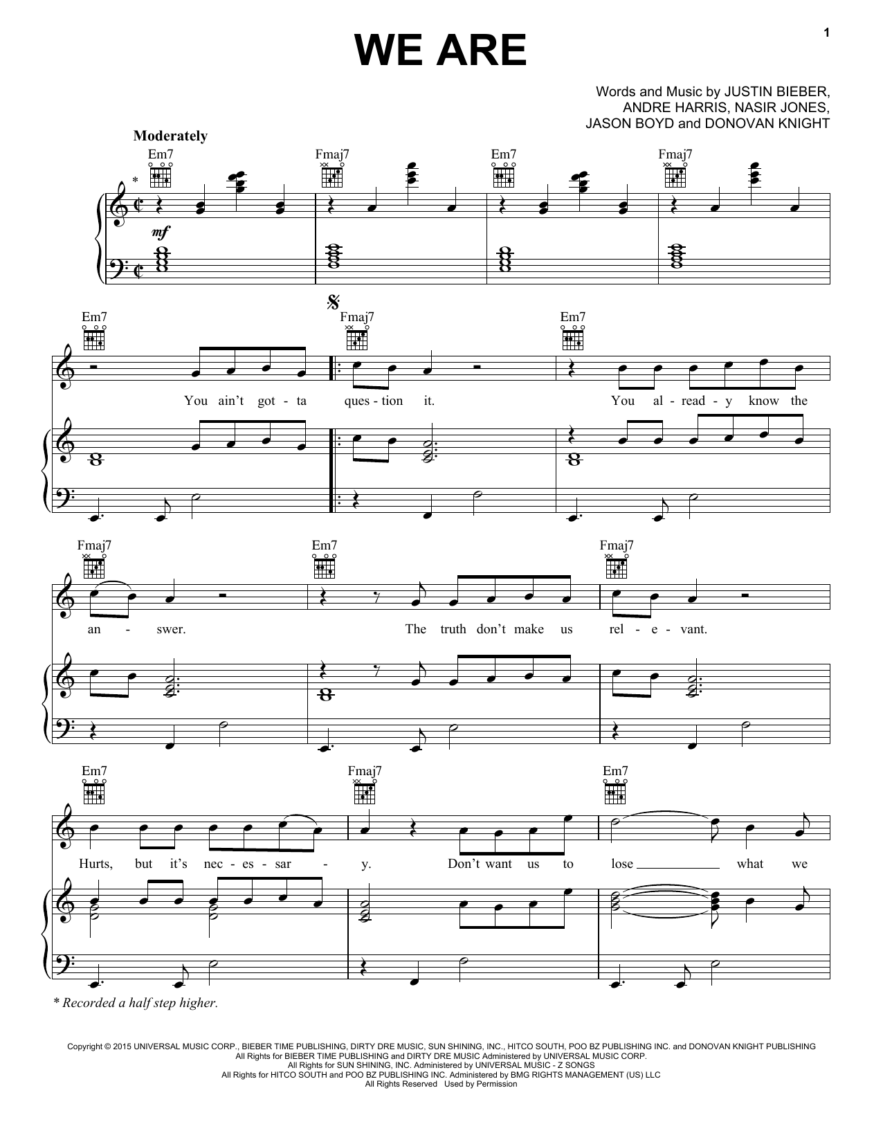 Justin Bieber We Are sheet music notes and chords. Download Printable PDF.