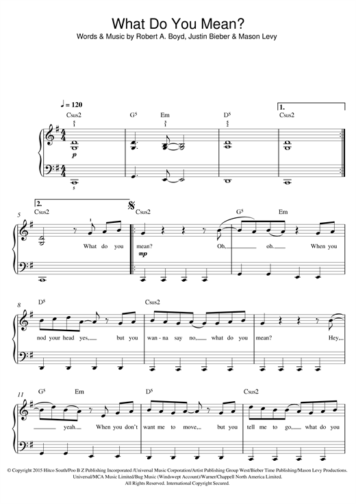 Justin Bieber What Do You Mean? sheet music notes and chords
