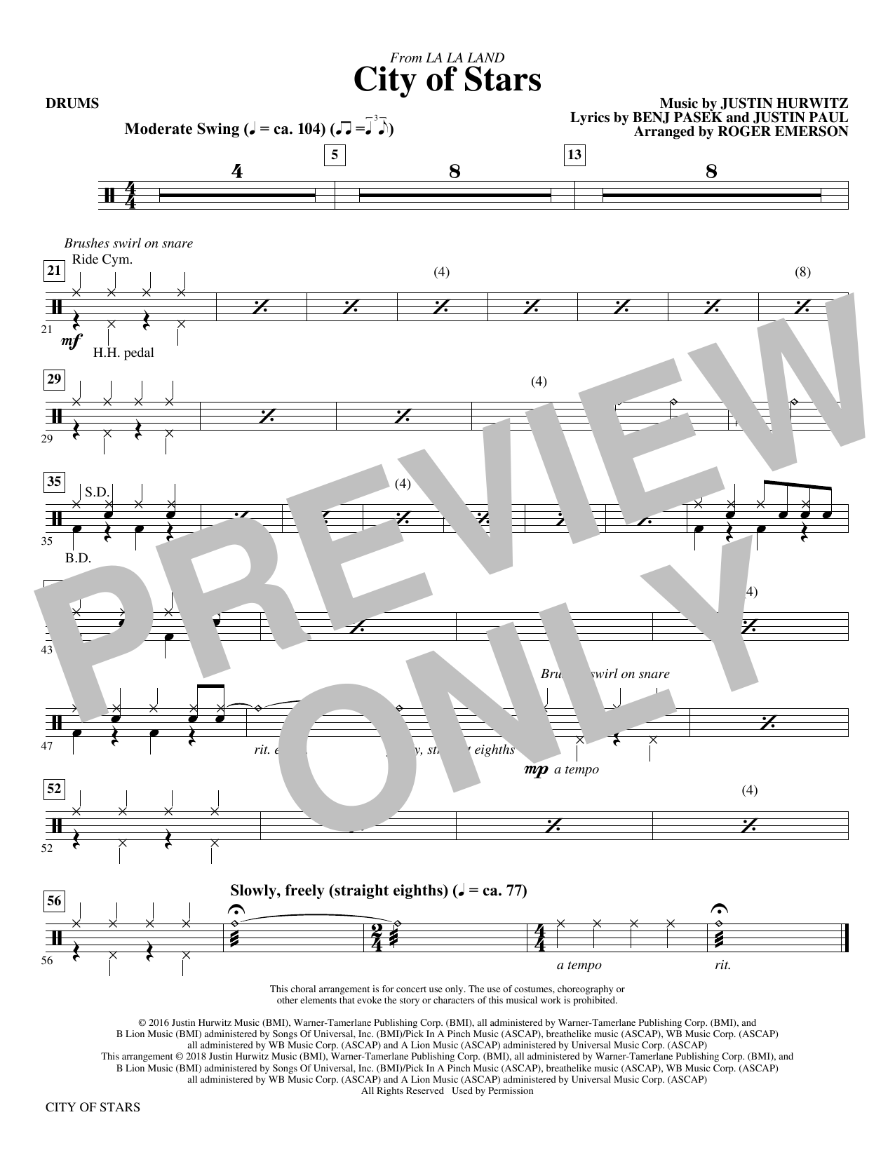 Justin Hurwitz City Of Stars (arr. Roger Emerson) - Drums sheet music notes and chords. Download Printable PDF.
