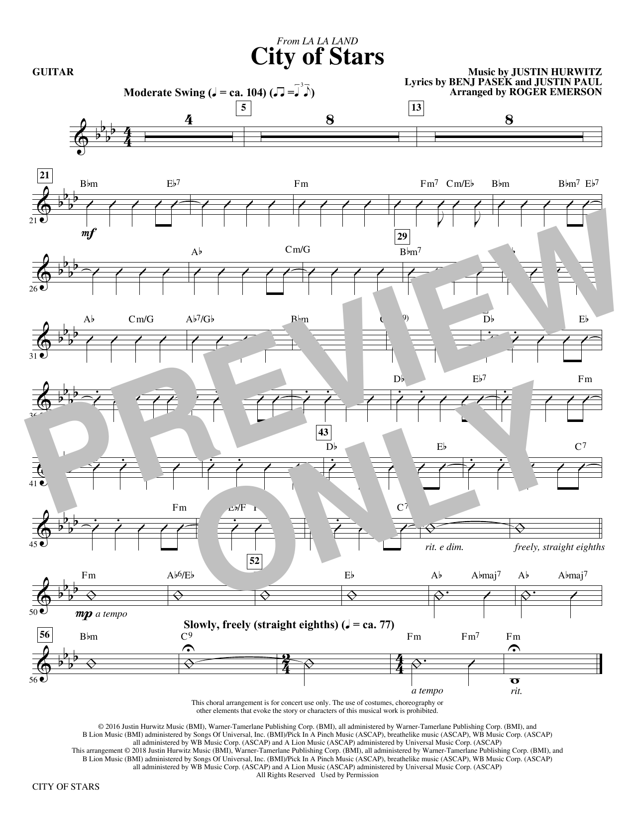 Justin Hurwitz City Of Stars (arr. Roger Emerson) - Guitar sheet music notes and chords. Download Printable PDF.