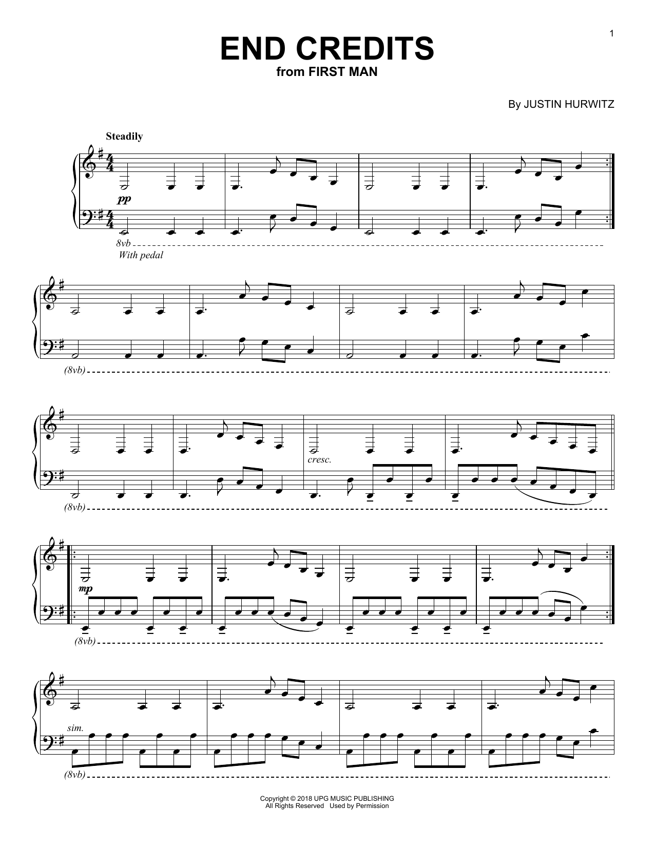 Justin Hurwitz End Credits (from First Man) sheet music notes and chords. Download Printable PDF.