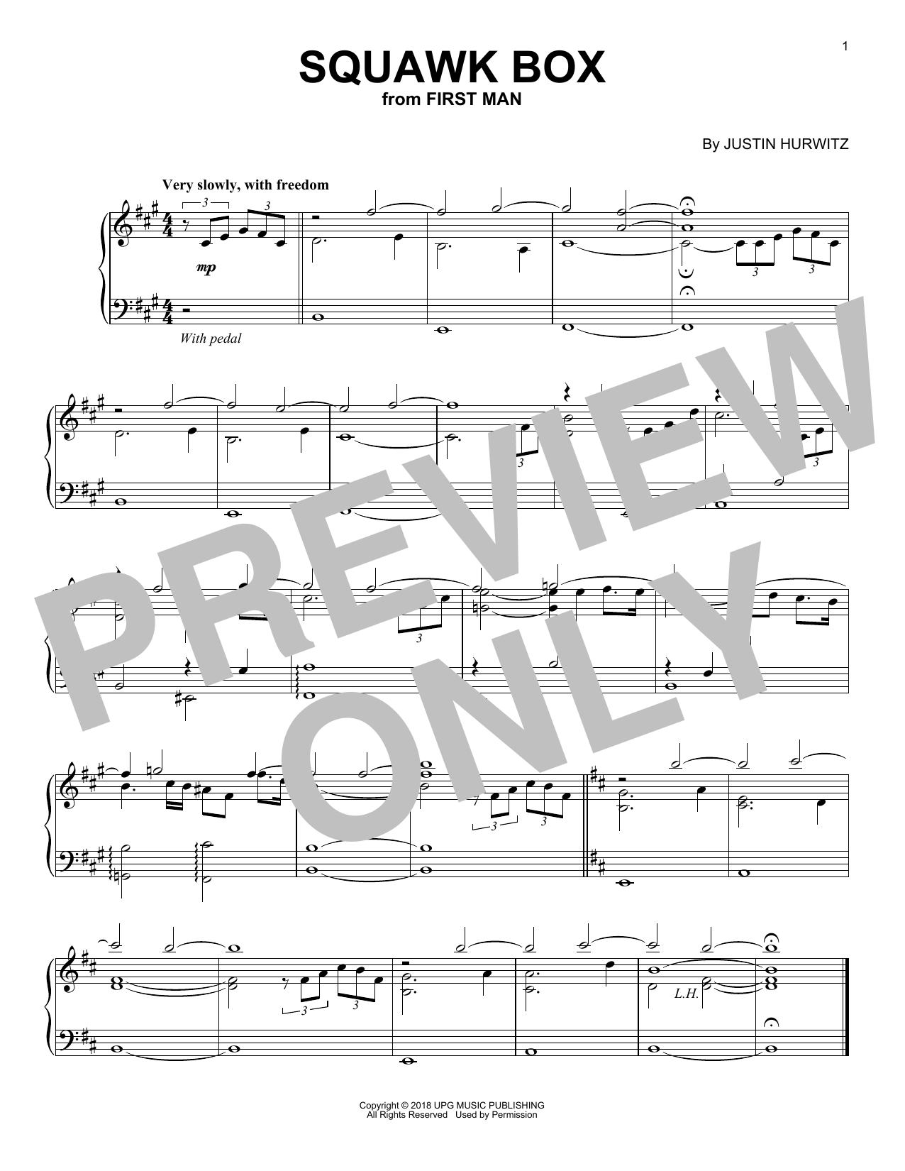 Justin Hurwitz Squawk Box (from First Man) sheet music notes and chords. Download Printable PDF.