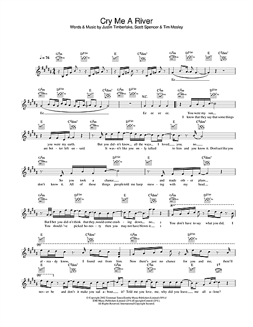 Justin Timberlake Cry Me A River sheet music notes and chords. Download Printable PDF.