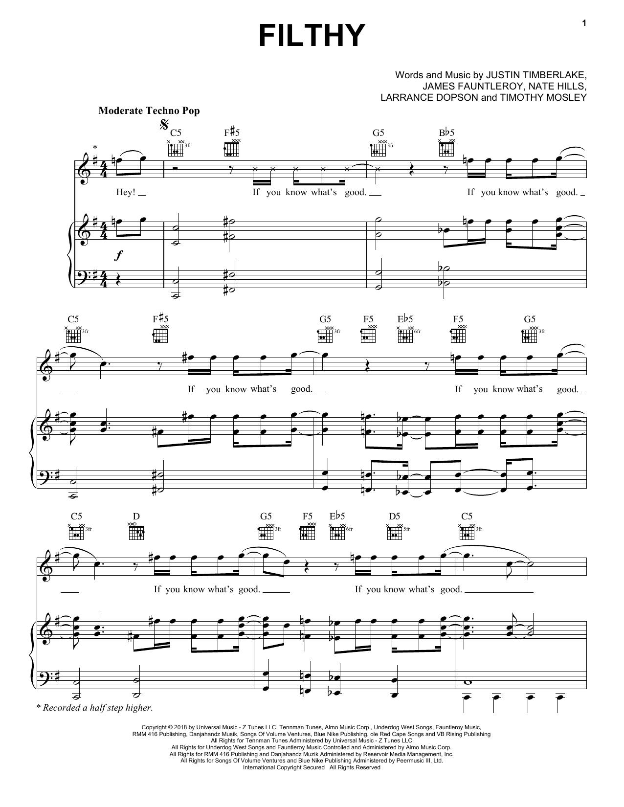 Justin Timberlake Filthy sheet music notes and chords. Download Printable PDF.