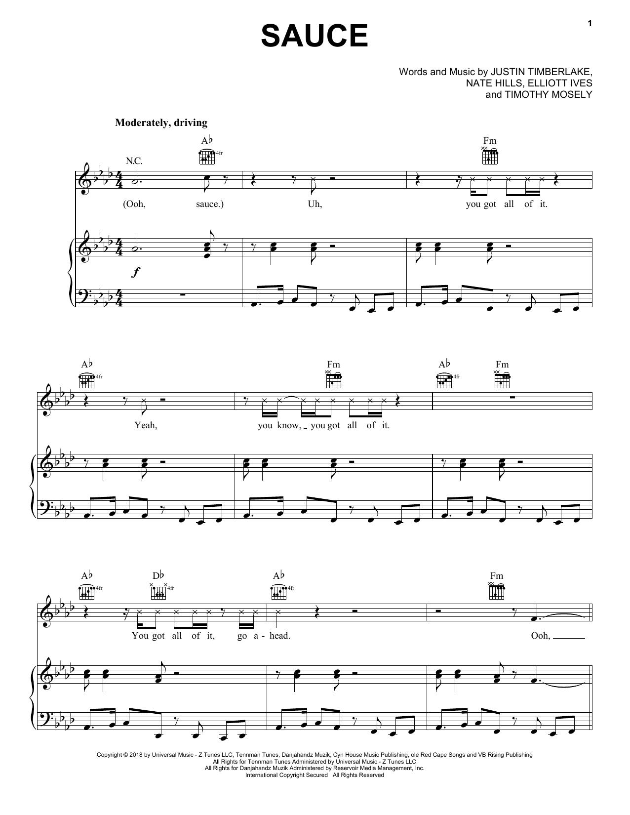 Justin Timberlake Sauce sheet music notes and chords
