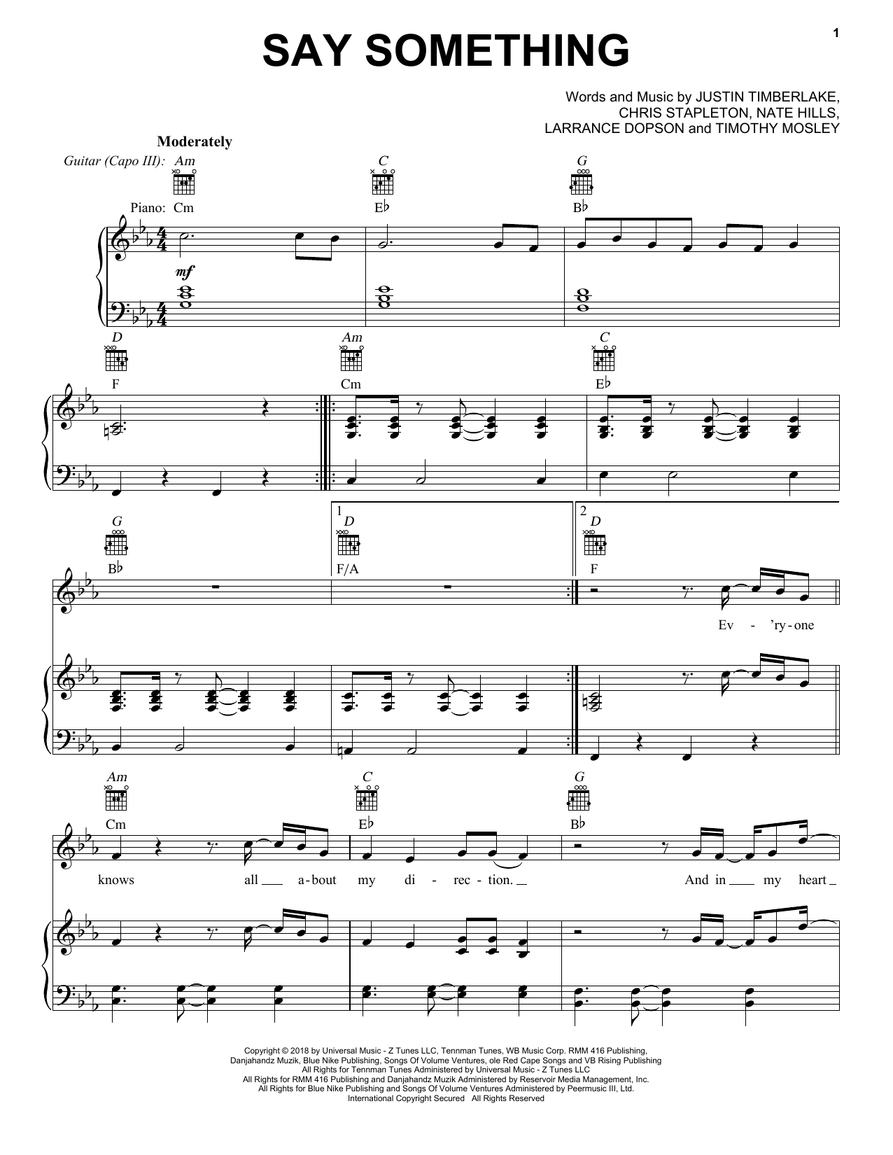 Justin Timberlake Say Something (feat. Chris Stapleton) sheet music notes and chords. Download Printable PDF.