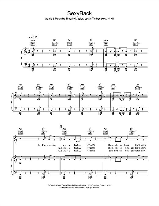 Justin Timberlake SexyBack sheet music notes and chords. Download Printable PDF.