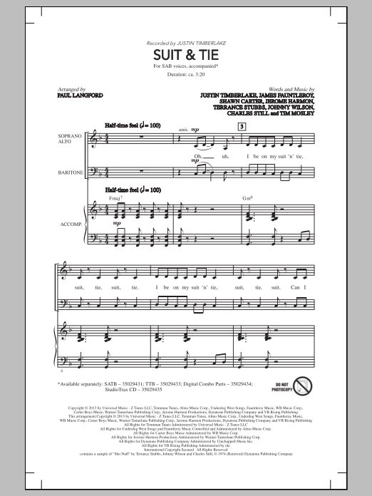 Justin Timberlake Suit & Tie (arr. Paul Langford) sheet music notes and chords. Download Printable PDF.
