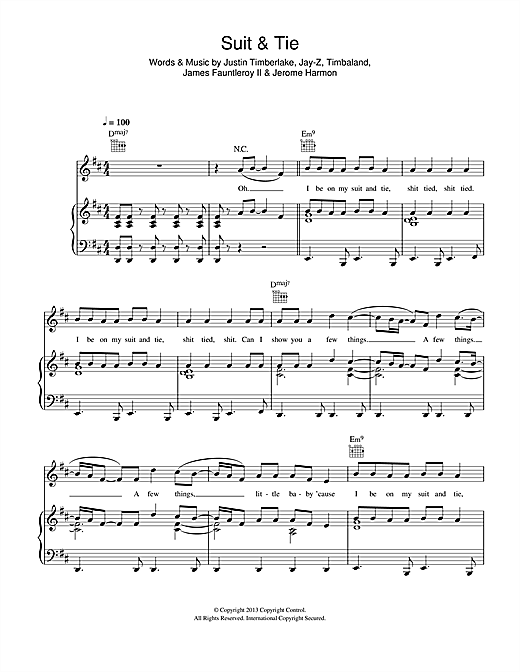 Justin Timberlake Suit & Tie (feat. Jay-Z) sheet music notes and chords. Download Printable PDF.