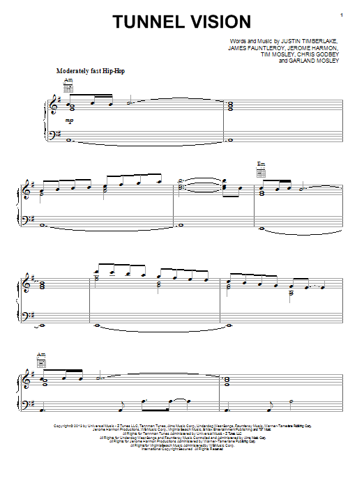 Justin Timberlake Tunnel Vision sheet music notes and chords. Download Printable PDF.