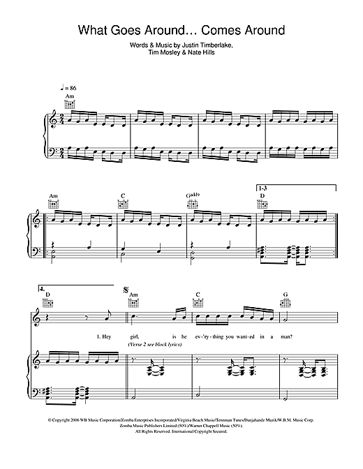 Justin Timberlake What Goes Around ... Comes Around Interlude sheet music notes and chords. Download Printable PDF.