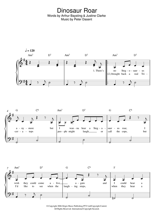 Justine Clarke Dinosaur Roar sheet music notes and chords. Download Printable PDF.