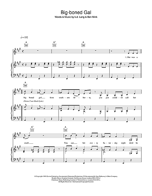 k.d. lang Big-boned Gal sheet music notes and chords