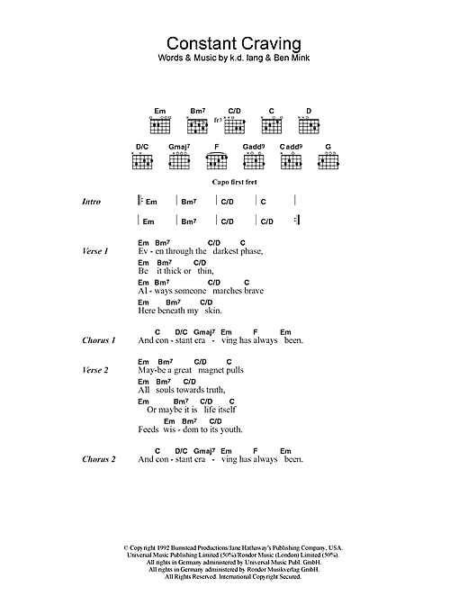 k.d. lang Constant Craving sheet music notes and chords. Download Printable PDF.