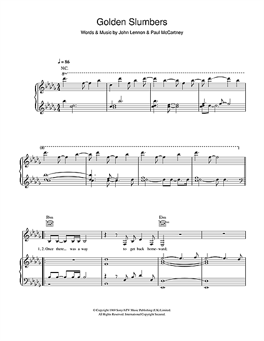 k.d. lang Golden Slumbers sheet music notes and chords. Download Printable PDF.