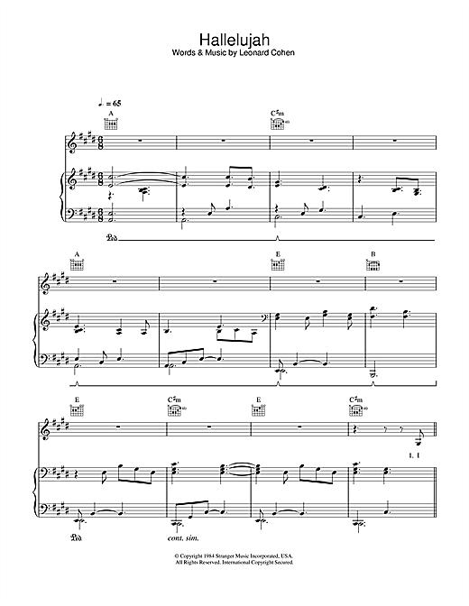 k.d. lang Hallelujah sheet music notes and chords. Download Printable PDF.