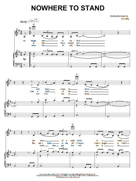 k.d. lang Nowhere To Stand sheet music notes and chords. Download Printable PDF.
