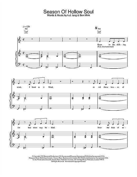 k.d. lang Season of Hollow Soul sheet music notes and chords
