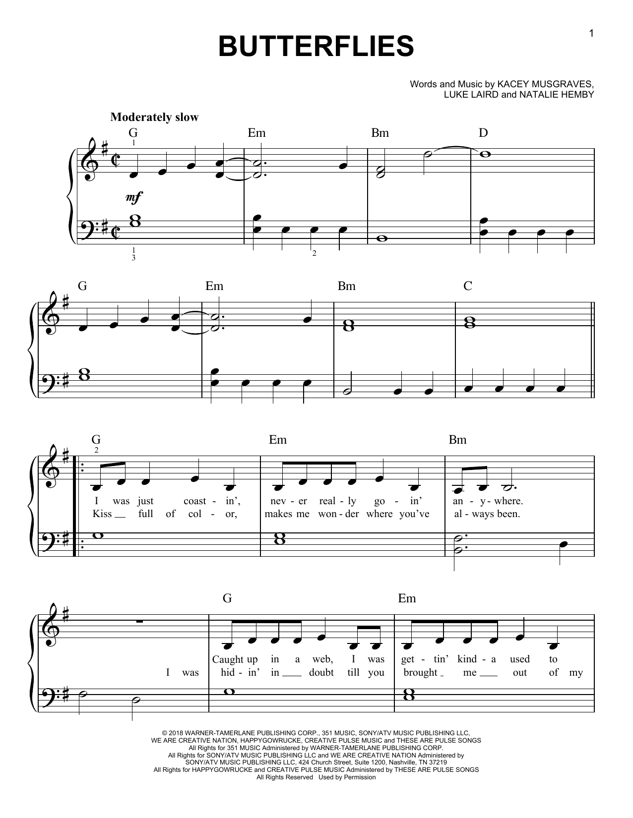 Kacey Musgraves Butterflies sheet music notes and chords. Download Printable PDF.
