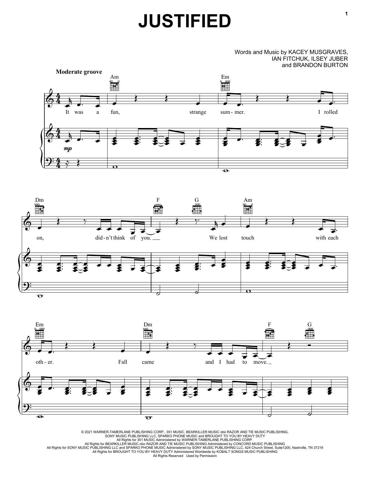 Kacey Musgraves Justified sheet music notes and chords. Download Printable PDF.