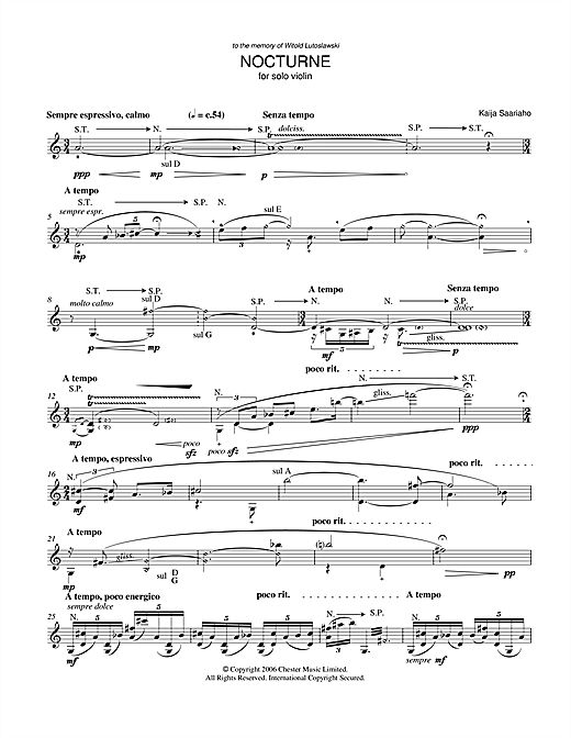 Kaija Saariaho Nocturne (for Solo Violin) sheet music notes and chords. Download Printable PDF.