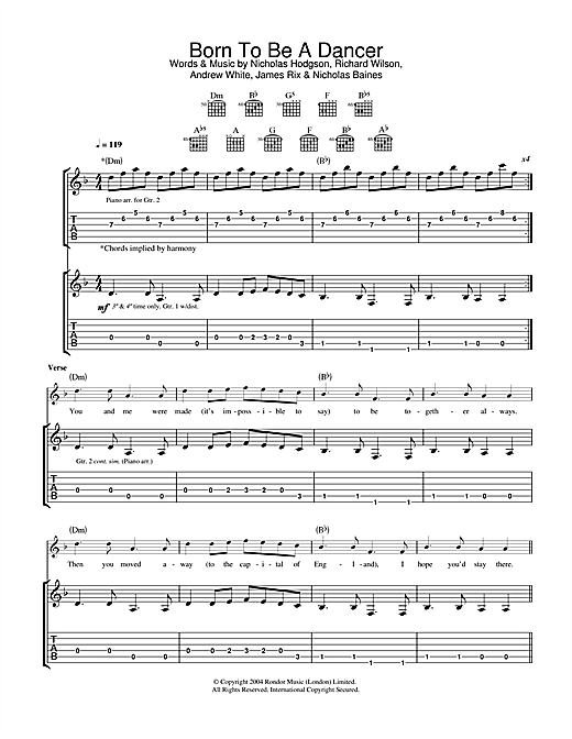 Kaiser Chiefs Born To Be A Dancer sheet music notes and chords. Download Printable PDF.