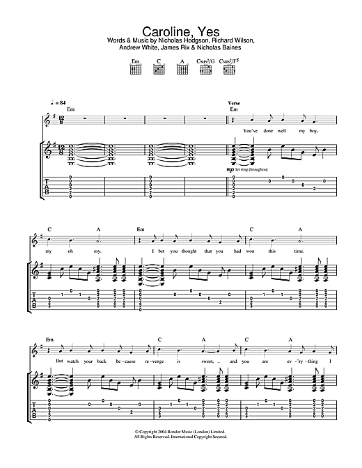 Kaiser Chiefs Caroline, Yes sheet music notes and chords. Download Printable PDF.