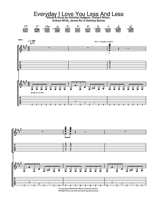 Kaiser Chiefs Everyday I Love You Less And Less sheet music notes and chords. Download Printable PDF.