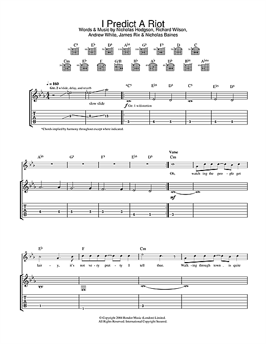 Kaiser Chiefs I Predict A Riot sheet music notes and chords. Download Printable PDF.