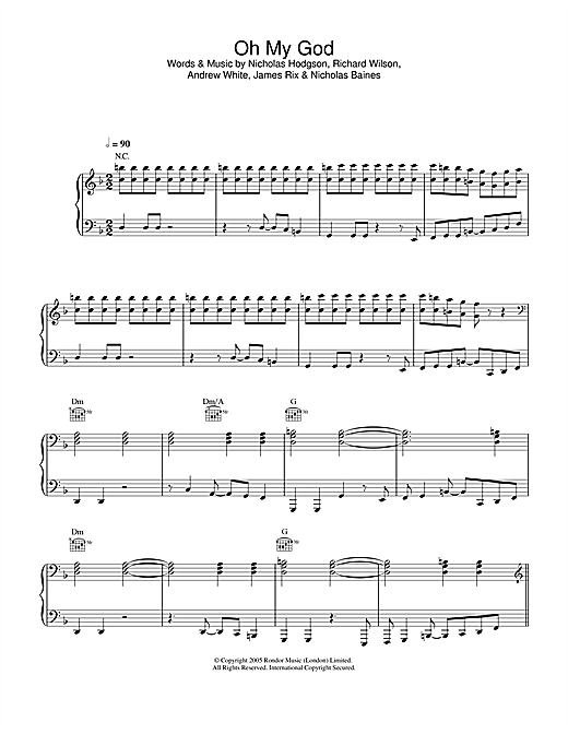 Kaiser Chiefs Oh My God sheet music notes and chords. Download Printable PDF.