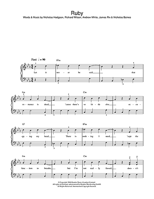 Kaiser Chiefs Ruby sheet music notes and chords. Download Printable PDF.