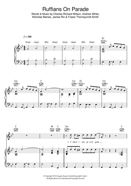 Kaiser Chiefs Ruffians On Parade sheet music notes and chords. Download Printable PDF.