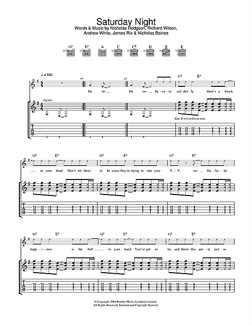 Kaiser Chiefs Saturday Night sheet music notes and chords. Download Printable PDF.