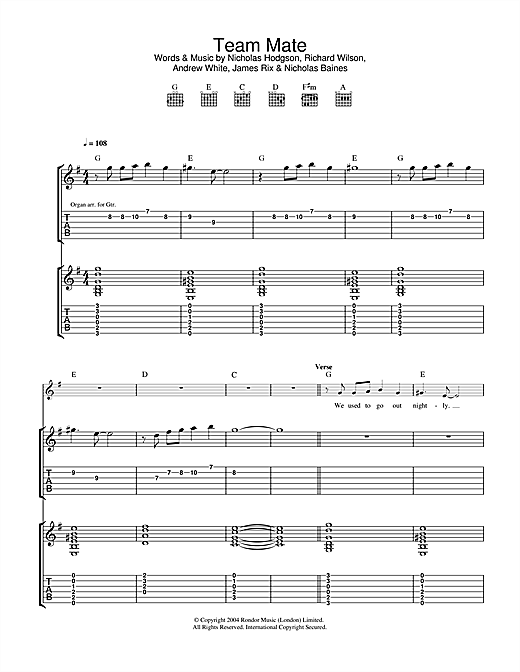 Kaiser Chiefs Team Mate sheet music notes and chords. Download Printable PDF.