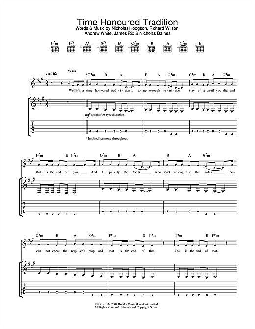 Kaiser Chiefs Time Honoured Tradition sheet music notes and chords. Download Printable PDF.