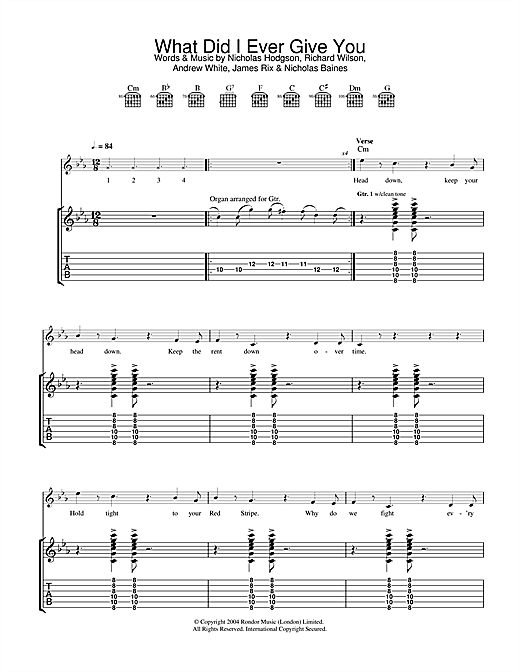 Kaiser Chiefs What Did I Ever Give You? sheet music notes and chords. Download Printable PDF.